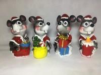 Мышь Копилка керамика Костюм санты 13см серая WL-2003*8
