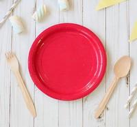 Тарелка бумажная набор 10шт, цвет красный (18см)