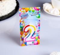 "Свеча для торта Цифра 2 с блестками ""Блестящий ободок"""