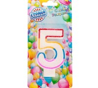 "Свеча для торта Цифра 5 с блестками ""Блестящий ободок"""