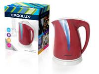 ERGOLUX ELX-KP03-C73 вишнево-св.серый (чайник пластиковый, 2.0л, 160-250В, 1500-2300Вт)