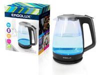 ERGOLUX ELX-KG01-C42 серебристо-черный (чайник стеклянный, 1.7л, 160-250В, 1500-2300Вт)