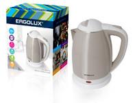 ERGOLUX ELX-KS02-C18 бежево-белый (чайник нерж.сталь/пластик, 1.8л, 160-250В, 1500-2300Вт)