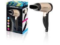 ERGOLUX ELX-HD01-C64 черный/золото (фен со складной ручкой, 1200Вт, 220-240В)