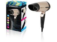 ERGOLUX ELX-HD02-C64 черный/золото (фен со складной ручкой, 1600Вт, 220-240В)
