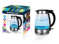 ERGOLUX ELX-KG02-C42 серебристо-черный (чайник стеклянный, 1.7л, 160-250В, 1500-2300Вт)