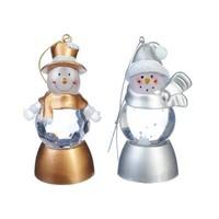 Светильник LED с водой и блестками в виде снеговика 8*4см CR2032 2диз