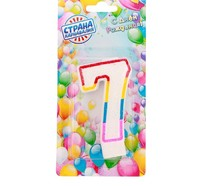 "Свеча для торта Цифра 7 с блестками ""Блестящий ободок"""