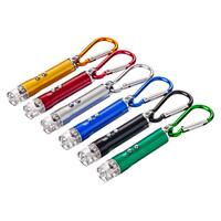 Фонарик-брелок 1LED+лазер+УФ 3*AG13 алюминий на карабине