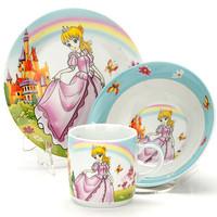 """Набор детской посуды """"Принцесса"""" 3пр., керамика(тарелка 18см, салатник 15см, кружка 230мл)С144"""