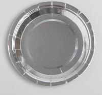 Тарелка бумажная набор 6шт, цвет серебро