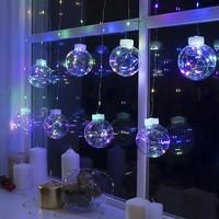 Гирлянда электр ШТОРА LED 2,7м*60см с прозрачными шарами, теплый белый свет