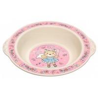 Тарелка детская глубокая с розов декор бежевый арт.4313065 Бытпласт