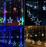 Гирлянда электр ШТОРА LED 2,5м 60см со звездами КРУПНЫМИ свечение (белое/разноцветное)