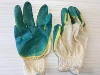 Перчатки х/б облитые двойные желто-зеленые*10