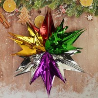 Гирлянда-подвеска из фольги Звезда 6 цвет.