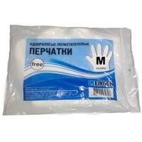 Перчатки однораз п/э р-р M 100шт FREE цена за упак