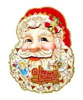 Плакат новогодний Дед Мороз 54см 5301-1 голова д. мороза